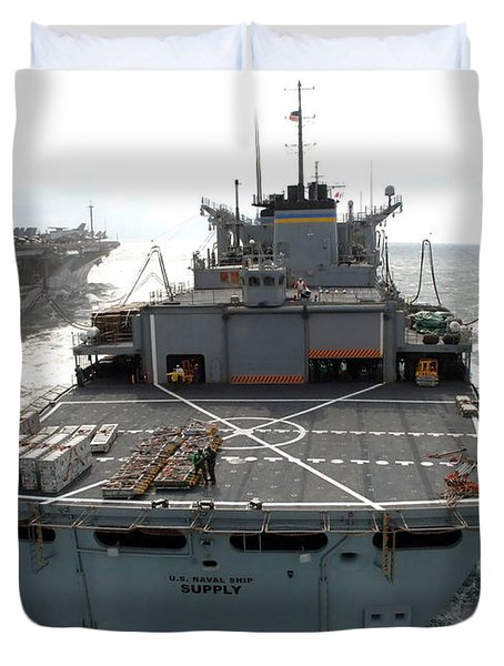 Usns Supply Conducts A Replenishment Duvet Cover by Stocktrek Images