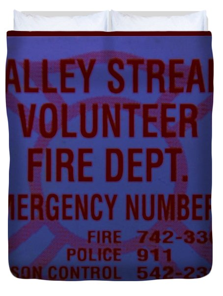 Valley Stream Fire Department In Blue Duvet Cover by Rob Hans