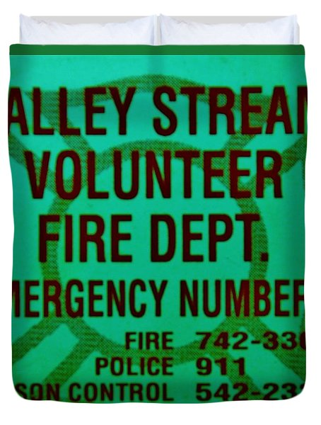 Valley Stream Fire Department In Irish Green Duvet Cover by Rob Hans