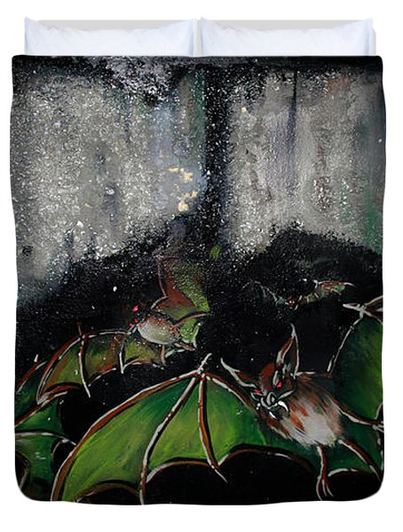 Duvet Cover featuring the painting Vampire Bats  by Nada Meeks