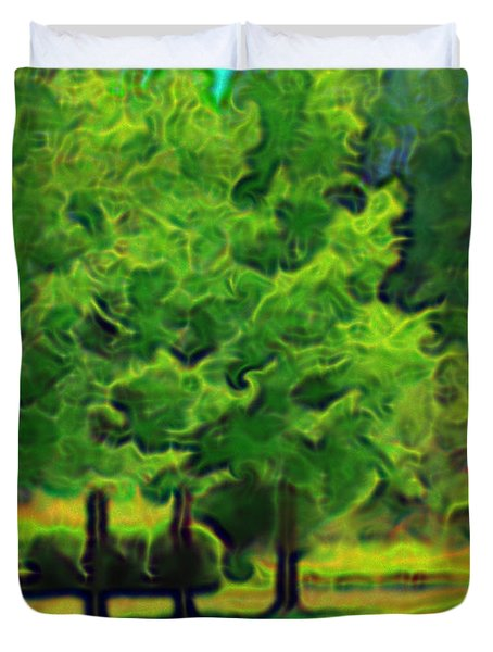 Duvet Cover featuring the mixed media Van Gogh Trees by Terence Morrissey