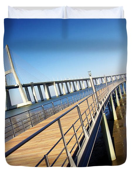 Vasco Da Gama Bridge Duvet Cover by Carlos Caetano