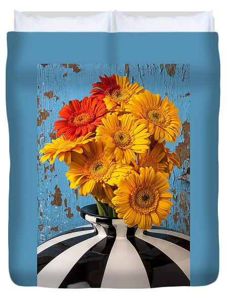Vase With Gerbera Daisies  Duvet Cover by Garry Gay