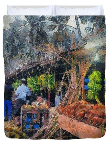 Vegetable Sellers Duvet Cover