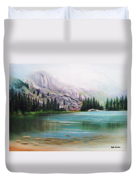 Veil Over Elk Lake Duvet Cover