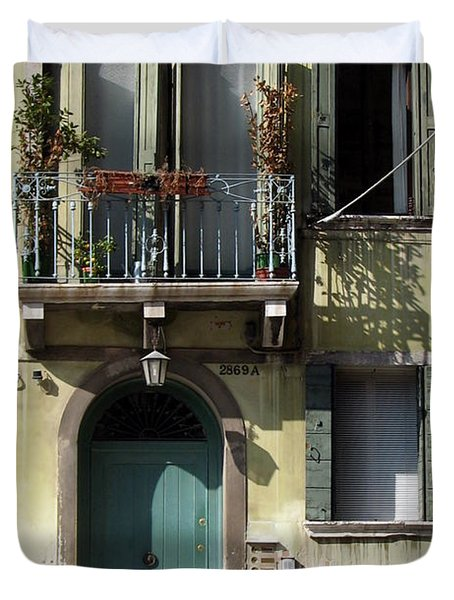 Duvet Cover featuring the photograph Venetian Doorway by Carla Parris