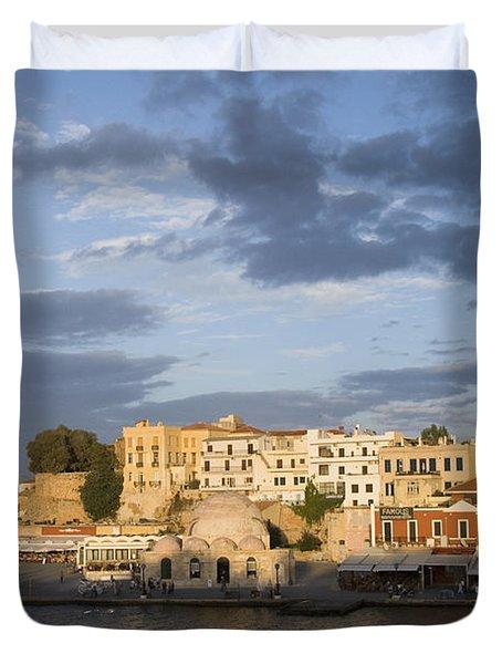 Venetian Harbor At Sunset Duvet Cover