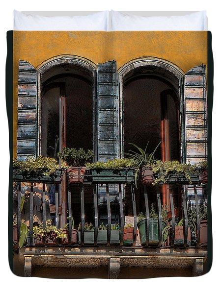 Duvet Cover featuring the photograph Venice Balcony by Tom Prendergast