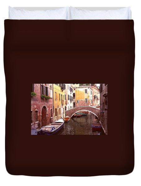 Duvet Cover featuring the photograph Venice Bridge Over A Small Canal. by Tom Wurl