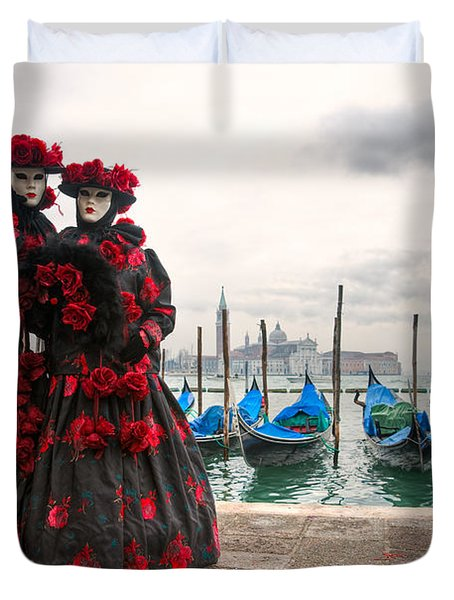 Duvet Cover featuring the photograph Venice Carnival Mask by Luciano Mortula