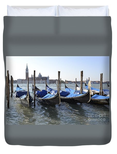 Duvet Cover featuring the photograph Venice Gondolas by Rebecca Margraf