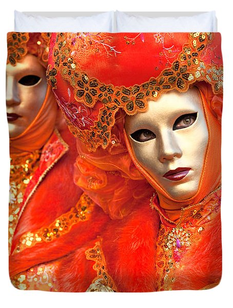 Duvet Cover featuring the photograph Venice Masks by Luciano Mortula