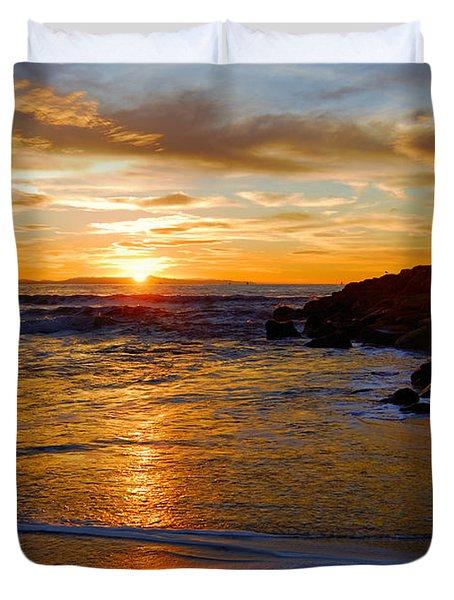 Duvet Cover featuring the photograph Ventura Beach Sunset by Lynn Bauer