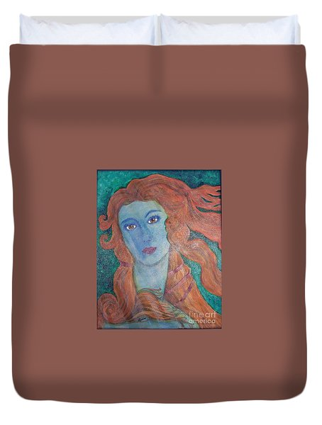 Duvet Cover featuring the painting Venus's Haze by Lucia Grilletto