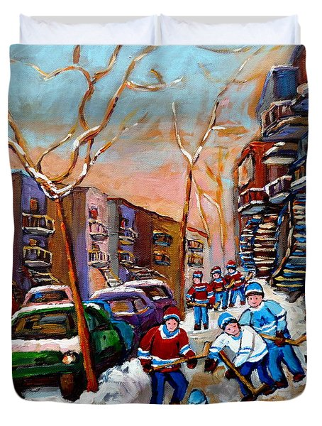 Verdun Montreal Hockey Game Near Winding Staircases And Row Houses Montreal Winter Scene Duvet Cover by Carole Spandau