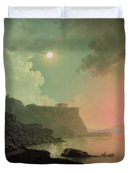 Vesuvius From Posillipo Duvet Cover by Joseph Wright of Derby