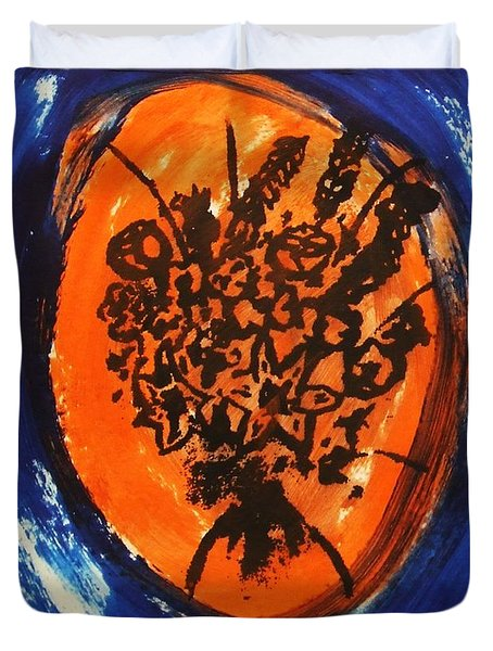 Duvet Cover featuring the painting Victorian Contemporary Flowers In Blue And Orange Vortex Swirls Acrylic Monoprint Serigraph by M Zimmerman