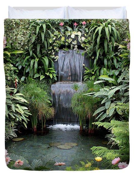 Victorian Garden Waterfall - Digital Art Duvet Cover by Carol Groenen