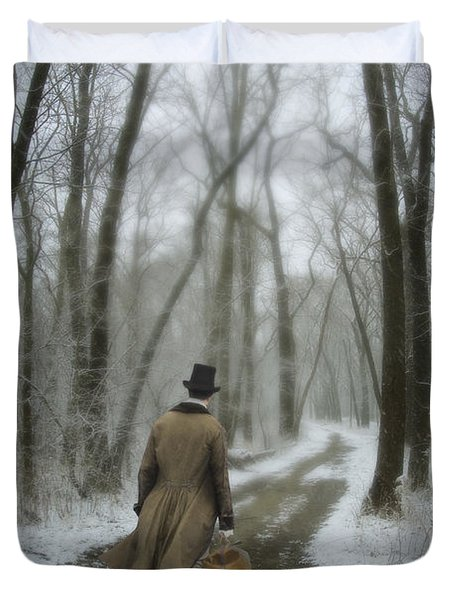 Victorian Gentleman Walking Through Woods Duvet Cover by Jill Battaglia