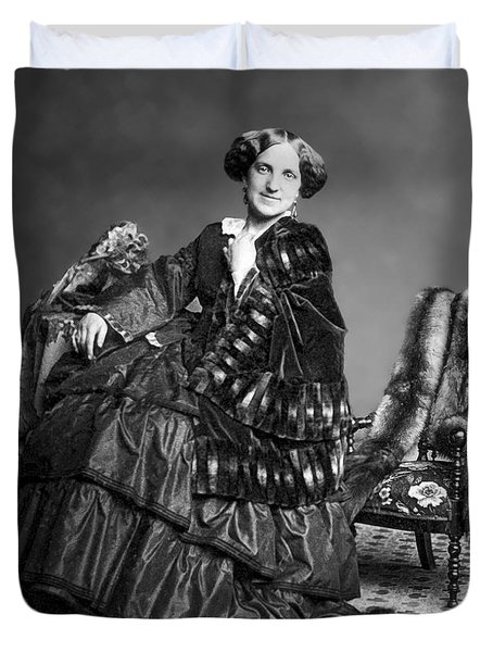 Victorian Woman With Furs C. 1853 Duvet Cover by Daniel Hagerman