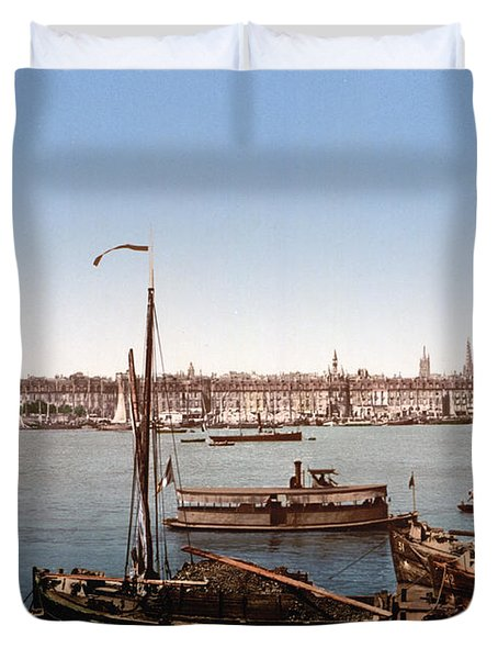 View From The Bastille - Bordeaux - France Ca 1900 Duvet Cover by International  Images