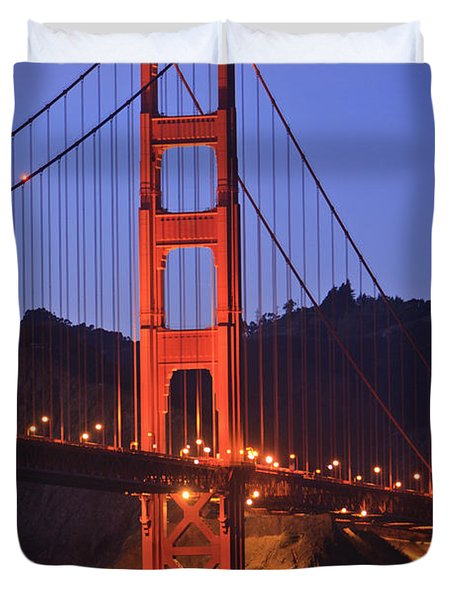 View Of Golden Gate Bridge At Dusk San Duvet Cover by Stuart Westmorland