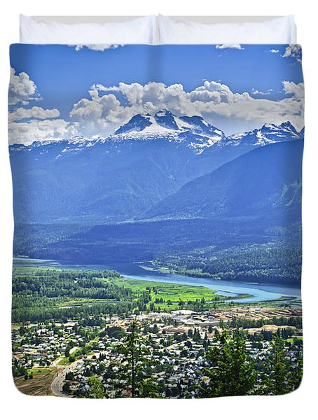 View Of Revelstoke In British Columbia Duvet Cover by Elena Elisseeva