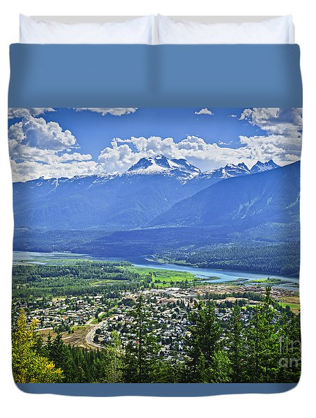 View Of Revelstoke In British Columbia Duvet Cover