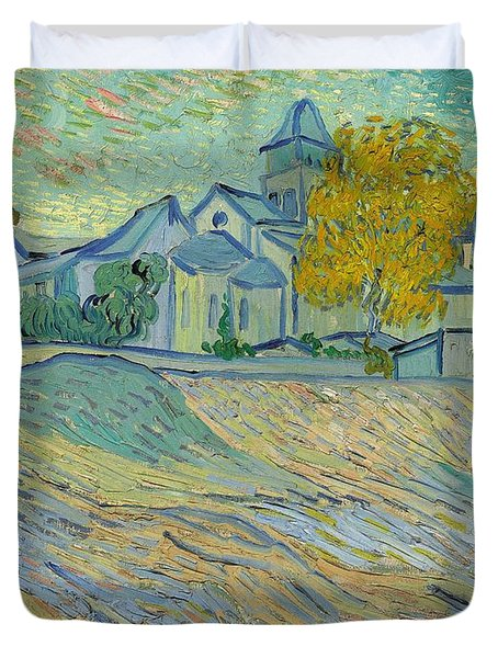 View Of The Asylum And Chapel At Saint Remy Duvet Cover by Vincent Van Gogh