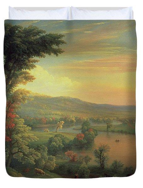 View Of The Mohawk Near Little Falls Duvet Cover by Mannevillette Elihu Dearing Brown