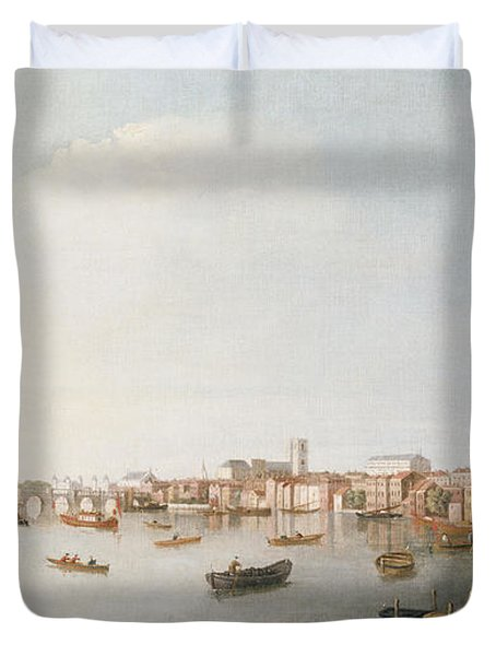 View Of The River Thames From The Adelphi Terrace  Duvet Cover by William James