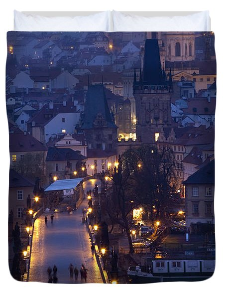 View Over The Charles Bridge Towards Duvet Cover by Axiom Photographic