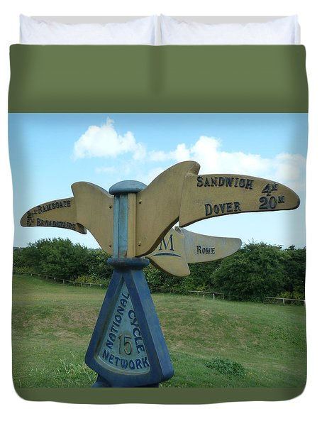 Duvet Cover featuring the photograph Viking Coastal Trail From Sandwich To Reculver by Steve Taylor