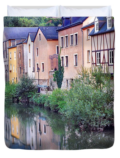 Village Reflections In Luxembourg I Duvet Cover by Greg Matchick