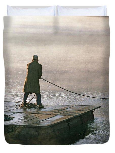 Villager On Raft Crosses Lake Phewa Tal Duvet Cover by Gordon Wiltsie