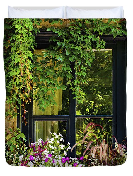Vines Growing On A Wall And Flowers Duvet Cover by David Chapman