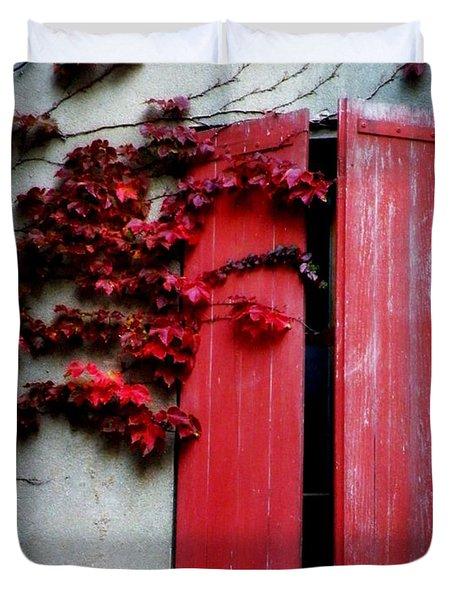 Vines On Red Shutters Duvet Cover