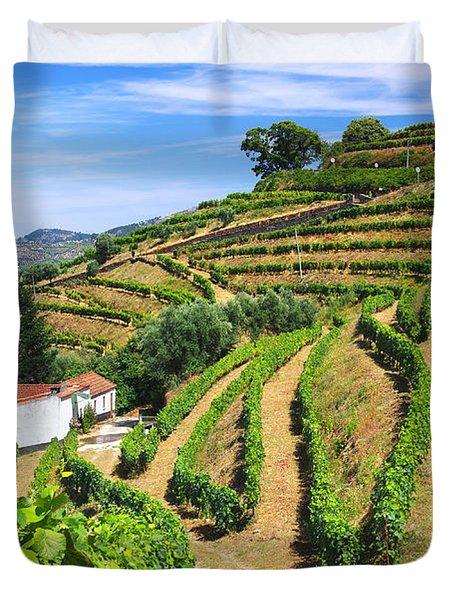 Vineyard Landscape Duvet Cover by Carlos Caetano