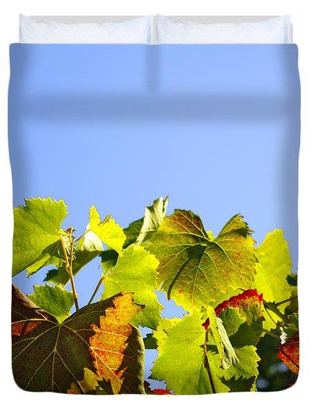 Vineyard Leaves Duvet Cover by Carlos Caetano