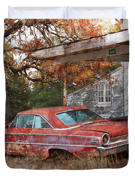 Vintage 1950 1960 Ford Galaxy Red Car Photo Duvet Cover by Svetlana Novikova