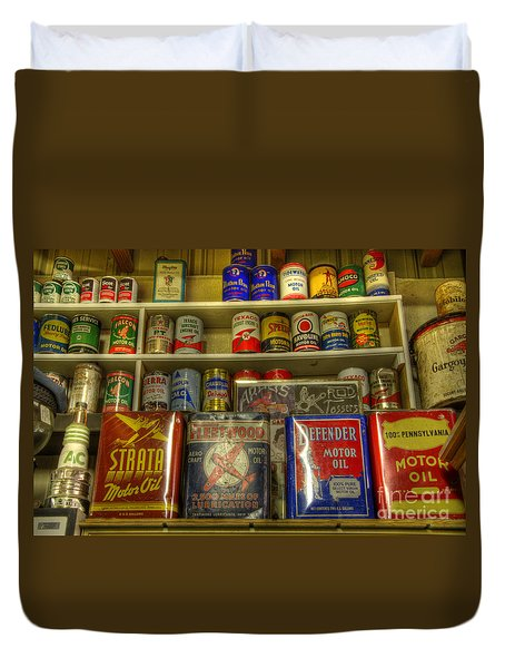 Vintage Garage Oil Cans Duvet Cover by Bob Christopher