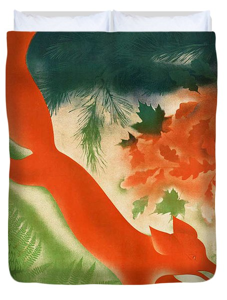Vintage Hunting In The Ussr Travel Poster Duvet Cover by George Pedro