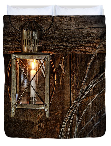 Vintage Lantern Hung In A Barn Duvet Cover by Jill Battaglia