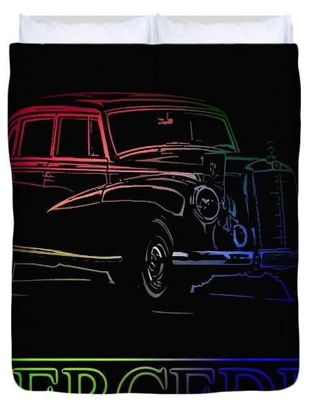 Duvet Cover featuring the photograph Vintage Mercedes by George Pedro