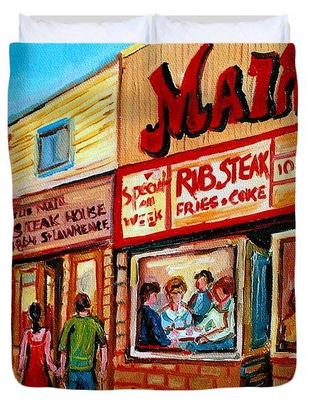 Vintage Montreal City Scene Boulevard St. Laurent Duvet Cover by Carole Spandau