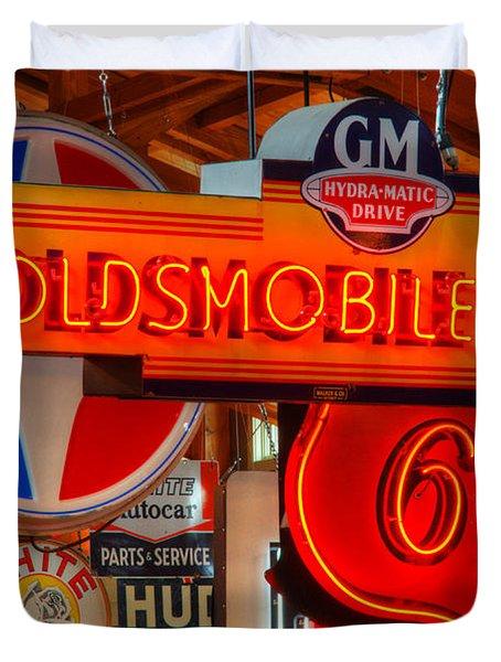 Vintage Neon Sign Oldsmobile Duvet Cover by Bob Christopher