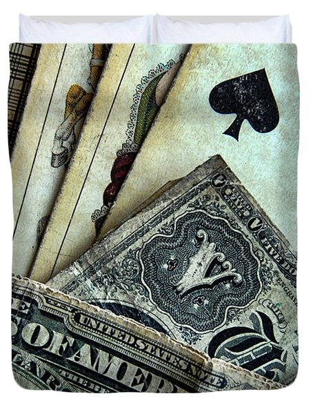 Vintage Playing Cards And Cash Duvet Cover by Jill Battaglia