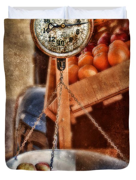 Vintage Scale At Fruitstand Duvet Cover by Jill Battaglia