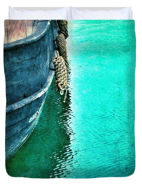 Vintage Ship Duvet Cover by Jill Battaglia
