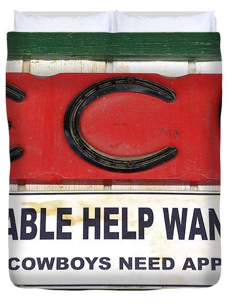 Vintage Sign For Cowboys Duvet Cover by Bob Christopher